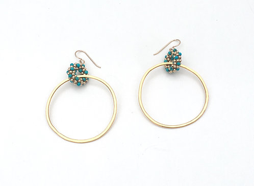 Turquoise + Gold Woven Link Hoop