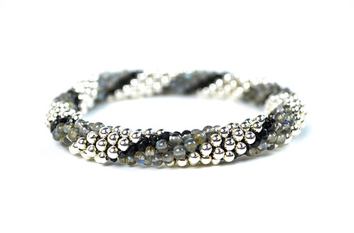 Black Spinel, Labradorite + Silver