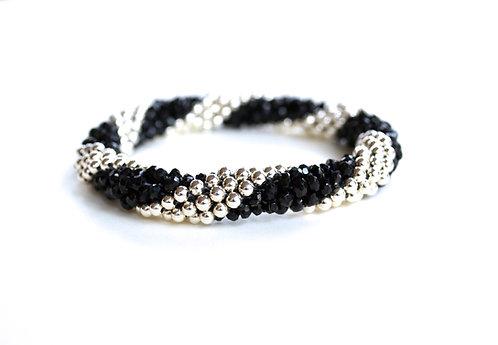 Silver + Black Spinel Stripe