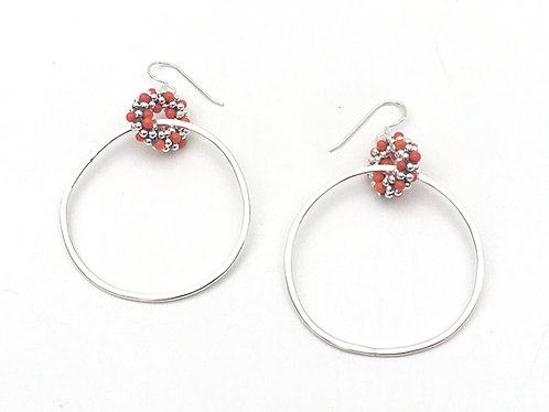 Coral + Silver Woven Hoops