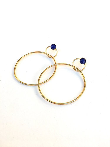 Crown Hoops with Lapis