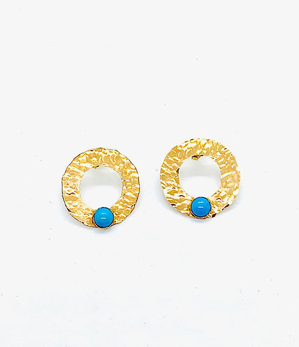 Gold Ring Discs w/Turquoise