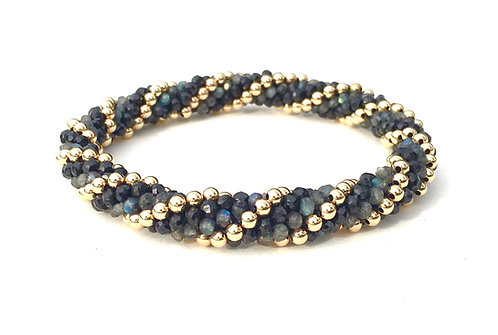 Black Spinel, Labradorite, Gold