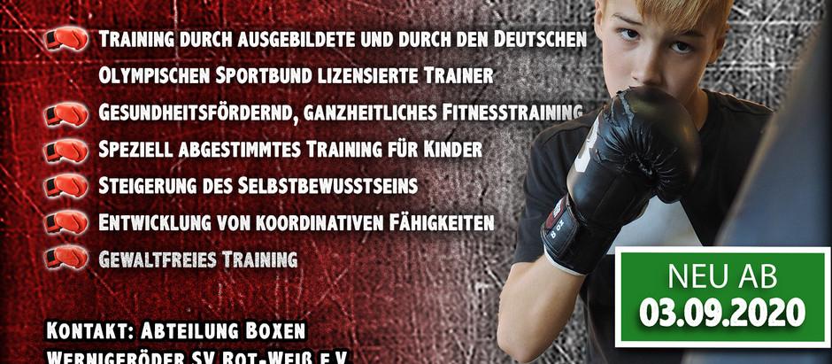 Boxtraining für Kinder ab dem 03.09.2020