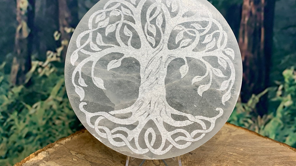 Tree of Life Satin Spar Charging Plate