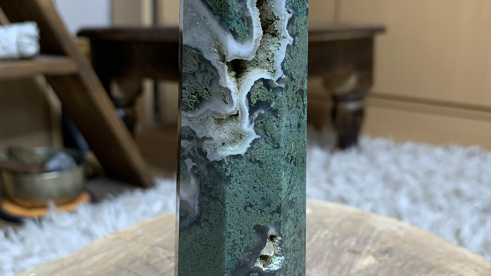 Large Moss Agate Druzy Tower