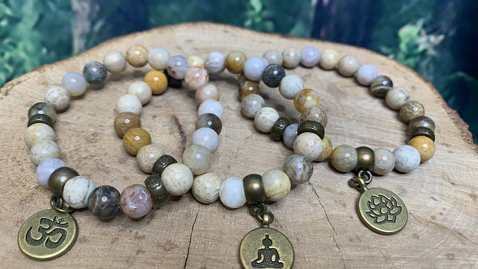 Ocean Jasper 'Atlantis Stone' Bracelet with Yogi Buddha Charm