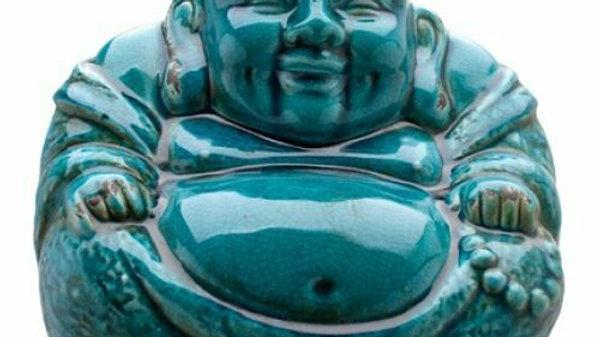 Teal Blue Aged Laughing Sitting Buddha