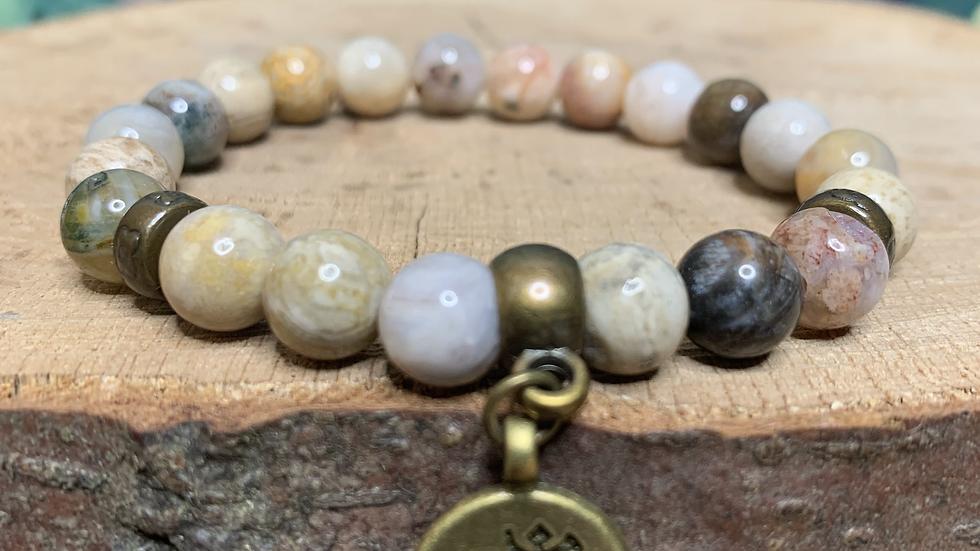 Ocean Jasper 'Atlantis Stone' Bracelet with 'OM' Charm
