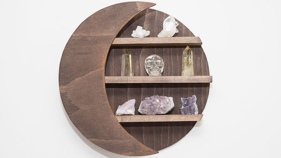 Crescent Moon Wood Crystal Shelf in Natural Wood