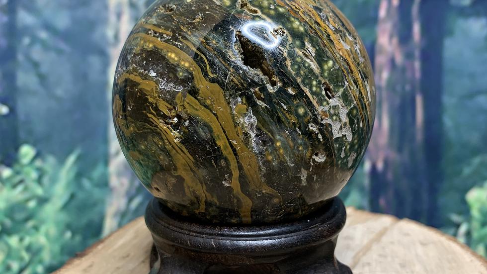 Ocean Jasper 'Atlantis Stone' Banded Druzy Sphere