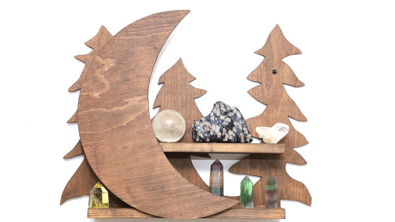 Moon in the Forest Crystal Shelf in Natural Wood