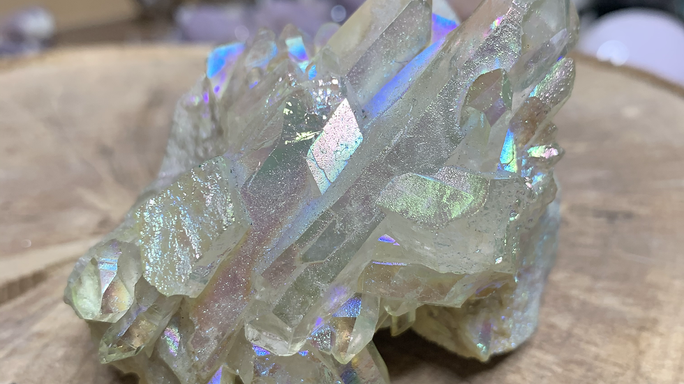 Angel Aura Clear Crystal Quartz Cluster