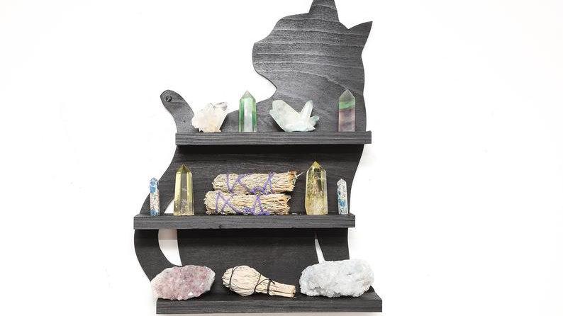 Black Cat Familiar Wooden Crystal Shelf