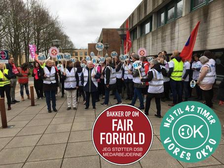 Støtte aktion med vores kollegaer i Dansk Jernbaneforbund (Aalborg)