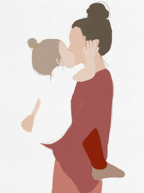 "Ilustração ""Motherhood Red"""