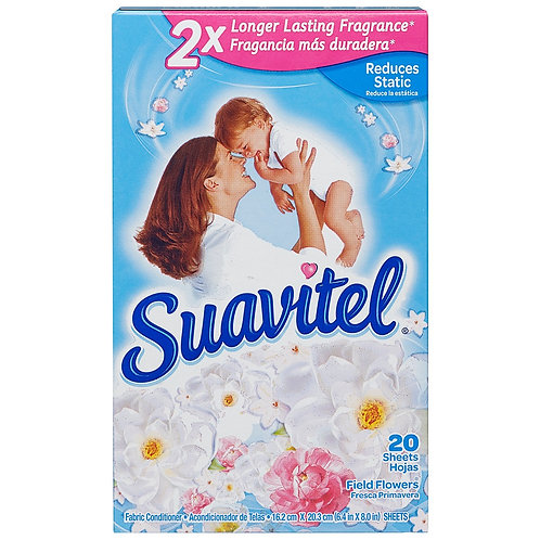 SUAVITEL 20 DRYER SHEETS FABRIC CONDITIONER FIELD FLOWER SCENTS