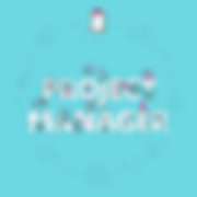 A logo reads project manager with some example of prject management tool