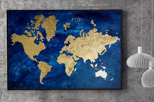 Planet Gold | Custom size | Gold on Canvas