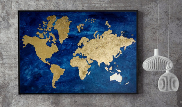 Planet Gold (Gold leaf on Canvas)