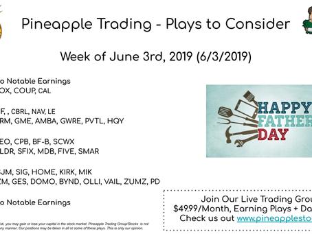 Earnings Week of June 3rd, 2019