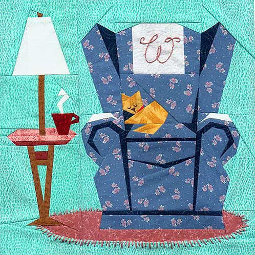 Sweet Seat Paper-pieced Quilt Pattern by Paper Panache, kitty version