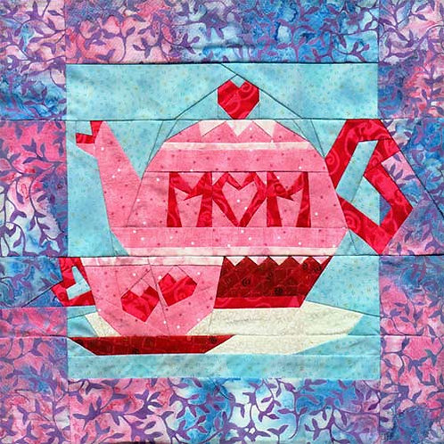 Mom's Day Tea Paper-pieced Quilt Pattern by Paper Panache (teapot and teacup)
