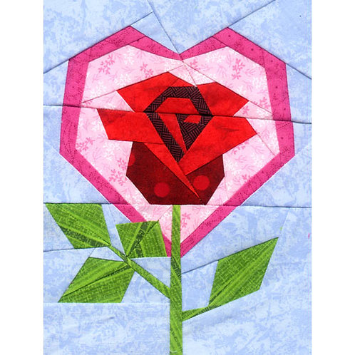 Valentine Rose Paper-pieced Quilt Pattern by Paper Panache