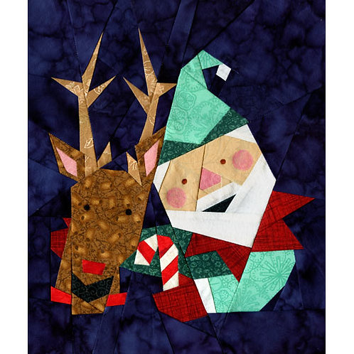 Elfie and Rudolph Paper-pieced Quilt Pattern by Paper Panache