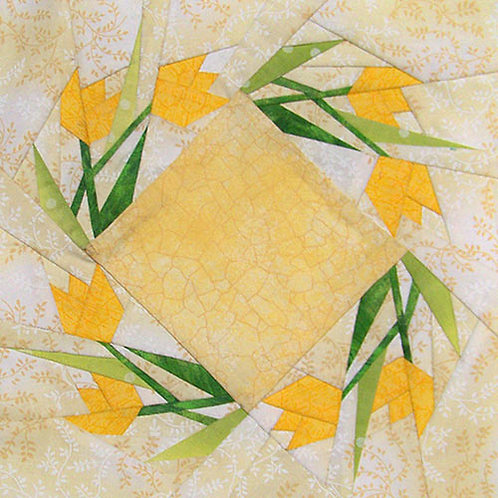 Windmill Tulips Paper-pieced Quilt Pattern by Paper Panache