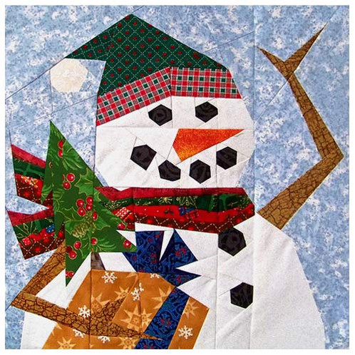 Holiday Snowman Paper Pieced Quilt Pattern
