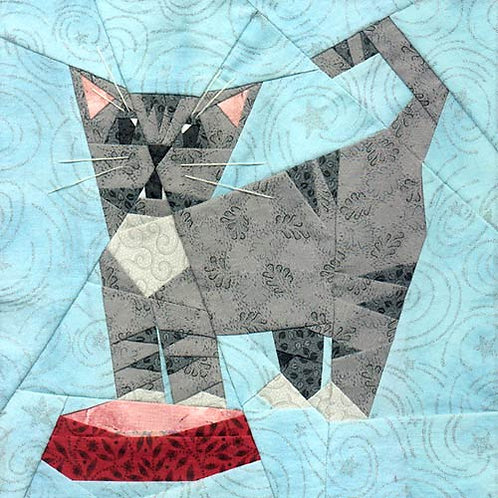 Hungry, Hungry Kitty Paper-pieced Quilt Pattern by Paper Panache