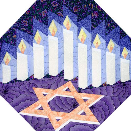 Hanukkah Block Paper-pieced Quilt Pattern by Paper Panache