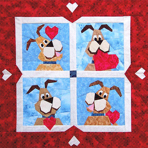 Valentine Dog Paper-pieced Quilt Pattern by Paper Panache