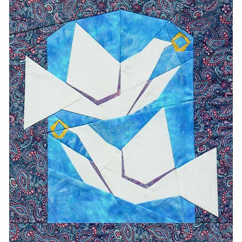 Wedding Doves Paper-pieced Quilt Pattern by Paper Panache