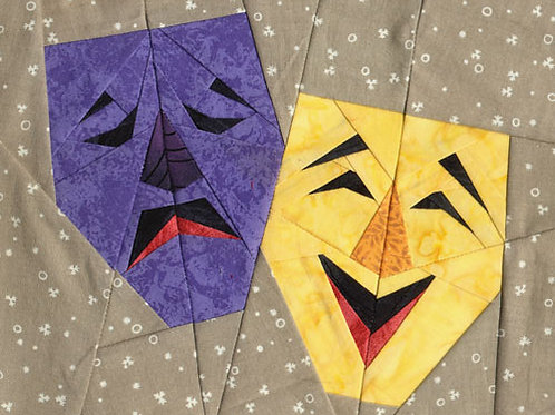 Comedy Tragedy Theater Masks Paper-pieced Quilt Pattern by Paper Panache