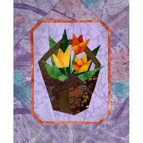 Tulip Basket Paper-pieced Quilt Pattern by Paper Panache