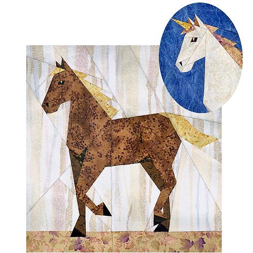 Horse/Unicorn Paper-pieced Quilt Pattern by Paper Panache