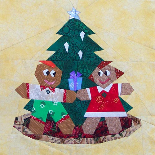 Gingerbread Christmas paper-pieced quilt pattern now available in PDF download format