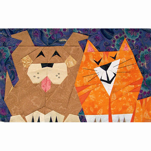 Pupcat Paper-pieced Quilt Pattern by Paper Panache, dog and cat