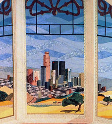 """Detail of """"1890/1990"""" quilt by Linda S. Worland"""