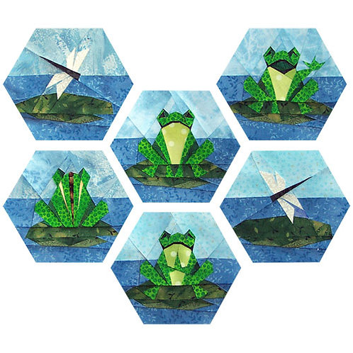 Happy Frog Family Paper-pieced Quilt Pattern by Paper Panache