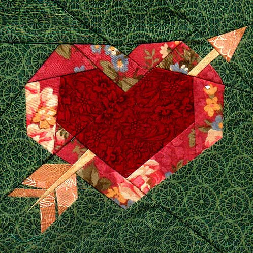 Cupid's Heart Paper-pieced Quilt Pattern by Paper Panache