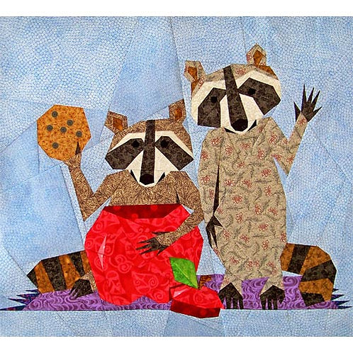 Two Raccoons Paper-pieced Quilt Pattern by Paper Panache