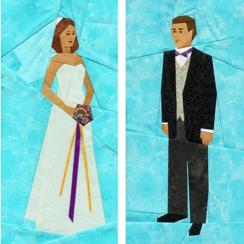 Bride, Groom, Cake Paper-pieced Quilt Pattern by Paper Panache