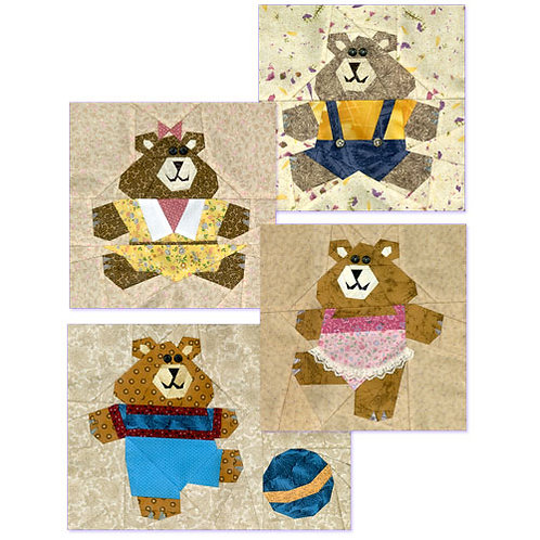 Teddy Bears Paper-pieced Quilt Pattern by Paper Panache