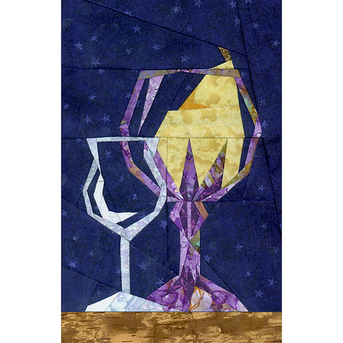 Pear of Wine Glasses Paper-pieced Quilt Pattern by Paper Panache