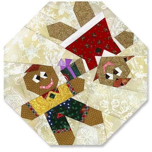 Gingerbread Couple Paper-pieced Quilt Pattern by Paper Panache