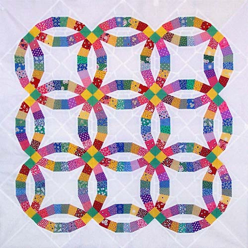 Traditional Double Wedding Ring Paper Pieced Quilt Pattern