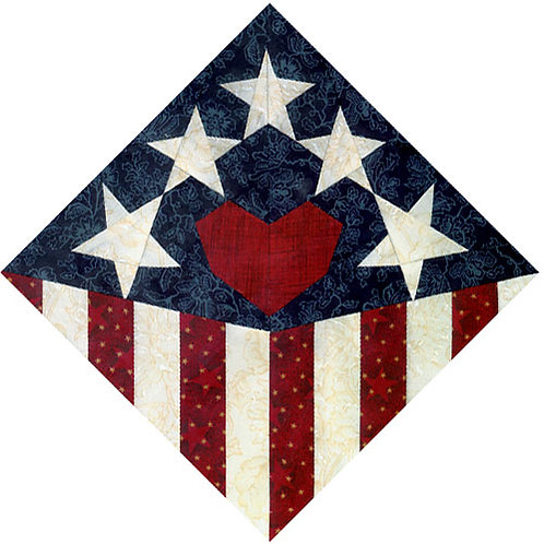 American Tribute Block Paper-pieced Quilt Pattern by Paper Panache